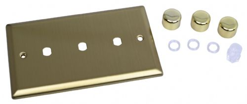 Varilight WYD3.BB Urban Brushed Brass 3 Gang Dimmer Plate Only + Dimmer Knobs